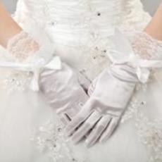 Tlustý plný prst Butterfly Knot Taffeta Vintage svatební rukavice