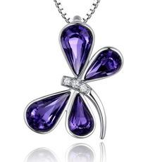 Dragonfly Ženy Křišťálově fialové stříbro dodává velkoobchodní náhrdelník