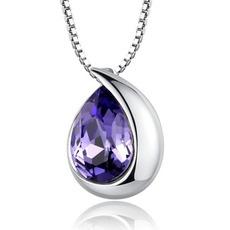 Velkoobchod stříbrné srdce ve tvaru módní Crystal ženy náhrdelník
