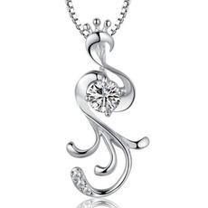 Vykládané diamanty Stříbrné ženy Fashion Peacock náhrdelník