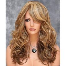 Perruque Vhodné pro ženy Long Curly Šikmé bangy Fluffy Long Curly