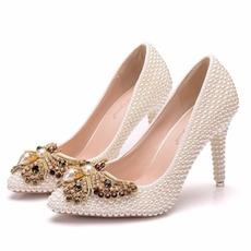 9CM pearl bow vysoké podpatky jehlové boty boty na boty party