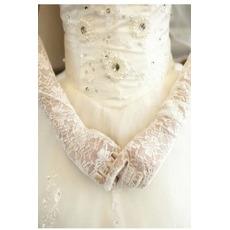 Svatební rukavice Černá průsvitná podzimní čipka stínka Lace Fabric