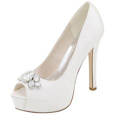 Večerní boty drahokamu svatební boty sexy rybí ústa vysoký podpatek svatební boty jehlové sandály