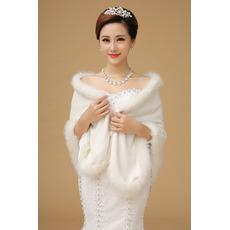 Fur Hall Sexy teplý dlouhý slonovinový svatební šátek