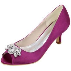 Vysoký podpatek drahokamu rybí ústa boty módní saténové banketové boty svatební obuv