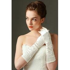 Svatební rukavice Vhodná plná prstová saténová vyšívání za studena