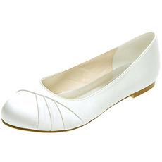 Ploché skládané saténové dámské boty hostina výroční setkání svatební boty