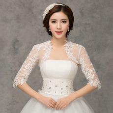Svatební šátek 1/2 rukávů malebných aplikací Lace Fabric