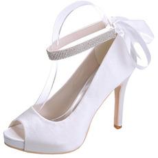 Saténové jehlové svatební boty rybí ústa boty banket každoroční párty módní boty