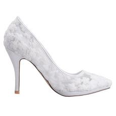Jarní krajka mělká ústa špičaté jednotlivé boty vyšívané květiny vysoké podpatky bílé svatební boty