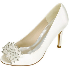 Svatební dámské boty mělká ústa rybí hlava vysoké podpatky drahokamu jediné boty družička banket šaty sandály