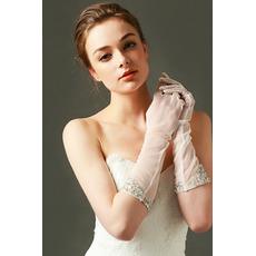 Svatební rukavice Tylový odstín Požadovaný Pearl Podzim Plný prst