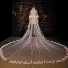 Velký krajkový závoj svatební svatební závoj s dlouhým závojem