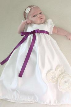Krátké rukávy Obřad Princezna Klenot Vysoký pasu Šaty na křtiny