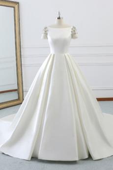 Krátký rukáv Střední Přikrýt T-shirt rukáv A-Čára Svatební šaty