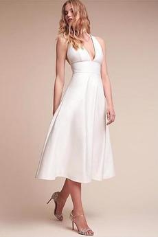 Jednoduchý Satén Čaj délka Pláž A-Čára Přírodní pas Svatební šaty
