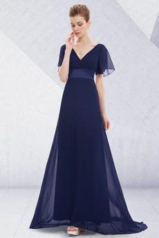 Dlouhý Skládaný živůtek Zip nahoru Šifón Volné rukávy Večerní šaty
