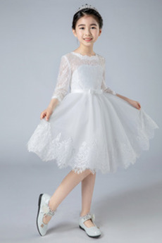 Krajka Šperk Podzim Iluze Kolena délka Svatba Květinové šaty