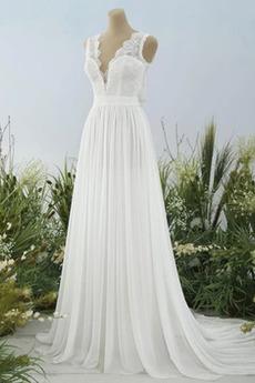 V-krk Přirozeného pasu Krajkou Overlay Bez rukávů Svatební šaty
