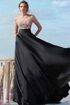 A-Čára Satin šifon Krajkou Overlay T-shirt rukáv Večerní šaty