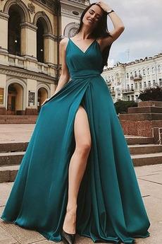 Elegantní Léto Satin šifon Bez rukávů Rozdělit přední Večerní šaty