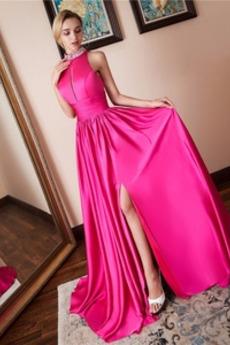 Dlouho A-Čára Střední Vysoký límec Satén Lištování Promové šaty