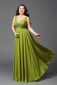 Vysoký pasu Elegantní Šifón Délka podlahy Hluboký výstřih do V Večerní šaty