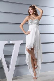 Bez ramínek Říše pasu Šifón Asymetrické Lištování Promové šaty