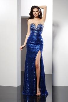 Luxusním Plášť Srdíčko Lištování Zip Míč Délka podlahy Promové šaty