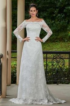 Dlouhý rukáv Rovné rameno Dvorní vlečka Přírodní pas Svatební šaty