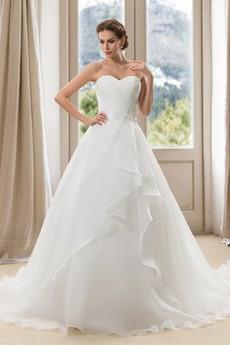 Bezzadu Skládaný živůtek Sál Zamést vlak Podzim Svatební šaty