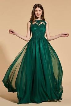 Střední Plisovaný čiré zadní Elegantní A-Čára Bez rukávů Promové šaty