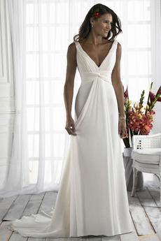 Přesýpací hodiny Jednoduchý Plisovaný V-krk Délka patra Svatební šaty