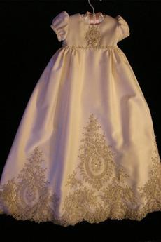Krátké rukávy Obřad Vysoká zahrnuty Satén Luk Formální Křest šaty