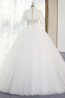 Tyl Vícevrstvý Zip nahoru A-Čára Přírodní pas V-krk Svatební šaty