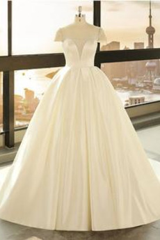 Krátký rukáv Rouška A-Čára Podzim Přesýpací hodiny Svatební šaty