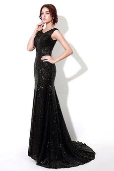 Formální Hvězdné Míč Těsné Vysoká krytina Bateau Flitry šaty