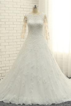 Dlouhý rukáv Krajkou Overlay Dlouhá Rosný rameno Svatební šaty