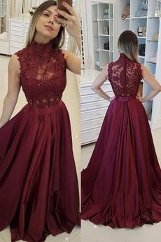 Lištování A-Čára Vysoká krk Zip nahoru Dlouhý Elegantní Promové šaty