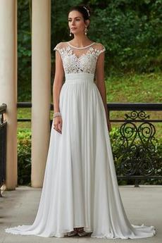 Dlouhý Skládaný živůtek Iluze Prohlédnout Zahrada Svatební šaty