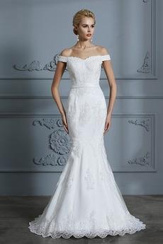Krátký rukáv Krajkou Overlay Dlouhá Zip Tlačítka Svatební šaty