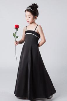 Přírodní pas A-Čára Přikrýt Bez rukávů Špagety Květinové dívky šaty