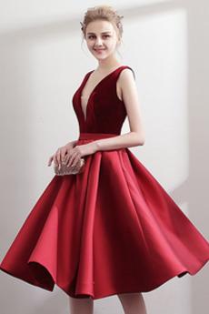 Jaro V-krk Sametová Hluboký výstřih do V Přikrýt Promové šaty