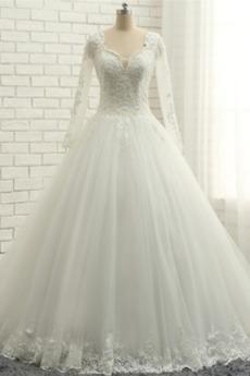 Dlouhý rukáv Délka podlahy Zimní Přírodní pas Sál Svatební šaty