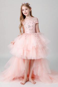 Vysoká nízká Krátké rukávy Střední Jaro Květinové dívky šaty