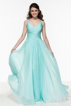Jednoduchý Délka patra V-krk Svatba Přírodní pas Promové šaty