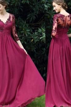 V-krk Aplikací Přírodní pas Skládaný živůtek Elegantní Večerní šaty