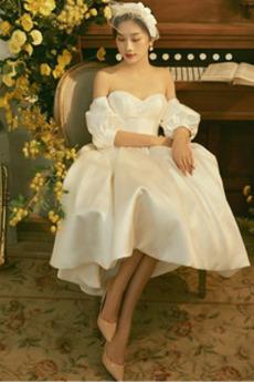Přírodní pas Zahrada pouf rukávy Hruška Asymetrické Svatební šaty
