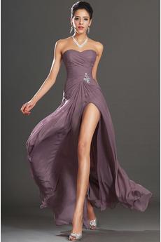 Bez ramínek Přirozeného pasu Bez rukávů Délka podlahy Promové šaty